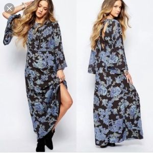 FREE PEOPLE FLORAL MELROSE MAXI DRESS SIZE 0